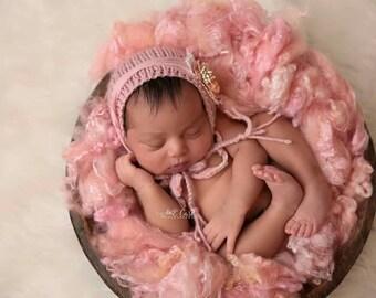 Pink Newborn Hat, Knit Newborn Bonnet, Classic Newborn Bonnet, Pink Newborn Bonnet, Dusty Pink Newborn Hat, Newborn Photography Prop