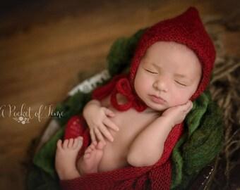 Red Newborn Hat and Wrap Set, Dark Red Mohair Wrap, Dark Red Pixie Hat and Wrap Set, Red Mohair Newborn Hat