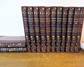 Antique 1905 Leather Bound Book Set - 13 Volumes -Stoddard's Lectures -Illustrated Travelogue -Burgundy Decorative Books- Photo/Wedding Prop