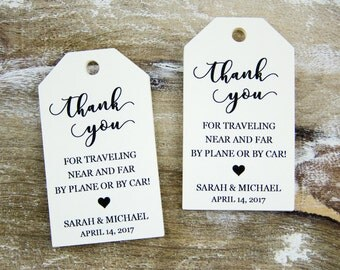 Thank You Tag - Wedding Favor Tag - Luggage Favor Tag - Wedding Favor - Custom Tags - Destination Wedding - Large Size - 3.5 x 2 inches