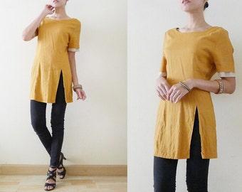 70s Plain Mustard Yellow tunic rayon cotton top,summer long blouse with high slit,short sleeve with polka dot details,minimalist,zakka,Small