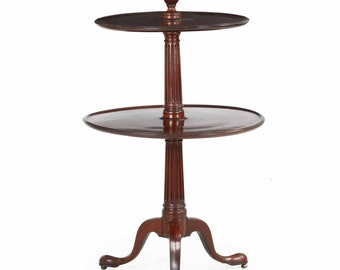 English Georgian Carved Mahogany Two-Tier Antique Dumbwaiter End Table