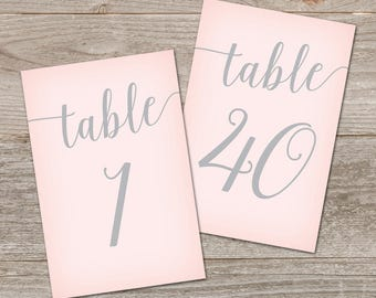 Gray and Pink Wedding Table Numbers 1-40 // Wedding Table Number Printable // Pink and Grey Wedding Decor