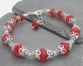 Red Crystal Bridal Bracelet, Cherry Bridesmaid Jewellery, Bright Red Weddings, Cherry Red Bracelets, Red Bridesmaid Gift Ideas, Bridal Party