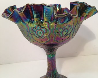 Fenton Blue Iridescent Carnival Glass Pedestal Bowl Vintage 1970s Collectible