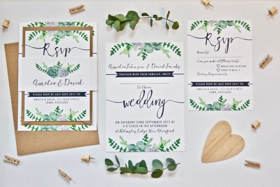 Succulents Wedding Invitation Bundle Printed SAMPLE Wedding Stationery - Green Natural Foliage 5x7 Wedding Invite and A6 RSVP with Bellyband
