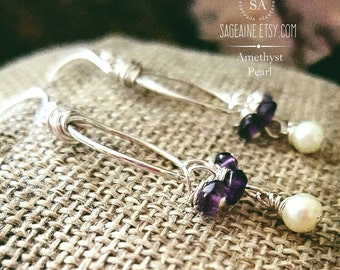 SageAine: Amethyst Pearl Sterling Silver Earrings, Third Eye, Crown Chakra Activation, Archangel Raphael, Reiki Charged, Crystal Healing