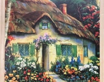 Vintage Album Scrapbook English Cottage. English Garden. Ivory/Cream, Oversized.