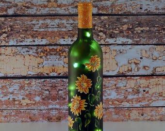Wine bottle light, hand painted bottle, yellow sunflowers