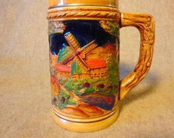 Decorative Ceramic Stein - Featuring a Windmill and a Castle - made in Japan