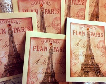Paris Greeting Cards, Housewarming Gift, Invite, French Script Cards With Little Glitter Gel