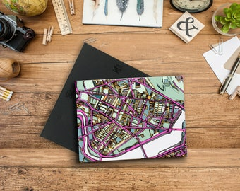Abstract Map Print of Cambridge MA