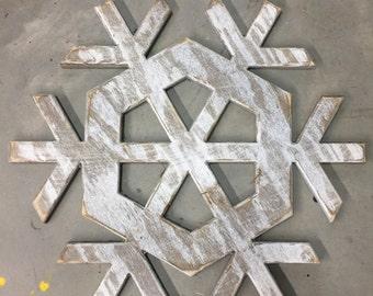 "Large Wooden Snowflake//Christmas snow//Holiday Decor//23"" wall decor"