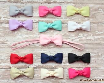 Pick Your Own Colors & Quantity - Baby Bow Headbands - Newborn Girl Headband - Pink Gray White Aqua, Gift Set, Small Tuxedo Bow