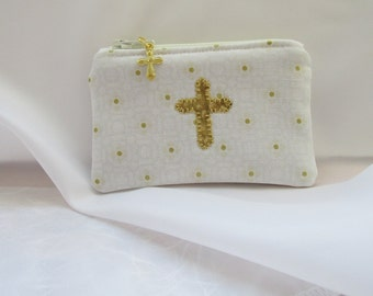 Rosary Pouch/Holder, Men's & Woman's, White and Gold, Cross, Catholic, Mother Mary