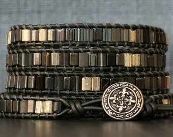 wrap bracelet- mixed gray and silver tiles on pewter leather- 5 wrap bracelet