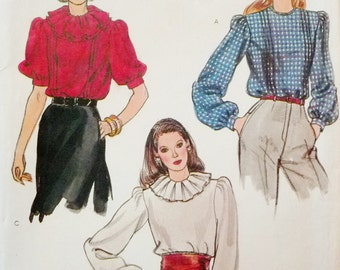 Ruffled Collar Romantic Blouse, Loose Fitting Blouse, Vogue 8189 Sewing Pattern Miss Size 8 Bust 31.5