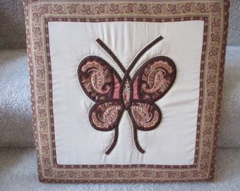 Vintage stained glass quilted  butterfly wall hanging decor