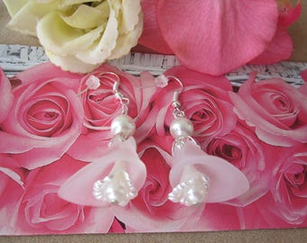 BRIDAL- Easter large frost white lucite Calla lily bead & satin finish LILY beads w. fx pearl EARRINGS