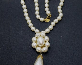 Miriam Haskell Baroque Pearl Necklace, Vintage Pearl Choker, Wedding Bride, Designer Signed Jewelry