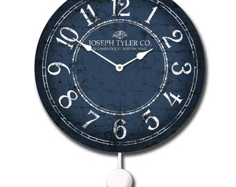 Blue & White Pendulum Wall Clock