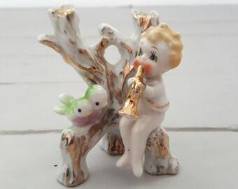 Ceramic Figurine Boy Tree Birds