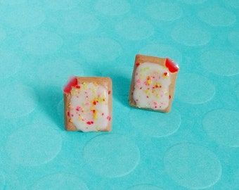 Strawberry Poptart Earrings w/ Rainbow Sprinkles - Handmade Polymer Clay Mini Food Dessert Candy Jewelry - Breakfast Collection