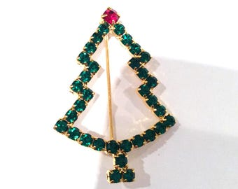 Vintage Christmas Tree Pin Sparkling Emerald Green Rhinestones Ruby Red Rhinestone Prong Set Goldtone  Holiday Pin Teacher Gift Pollyanna