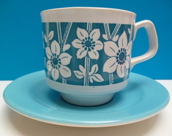 Three Tams cup and saucer sets - bold blue/turquoise and white floral design - 60s/70s