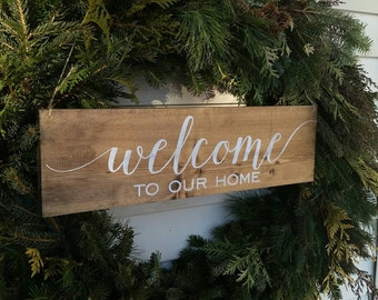 Welcome to our home sign - Dark stained wedding sign- welcome Sign- Wedding Decor sign