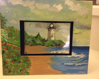 Lighthouse frame with easel back.