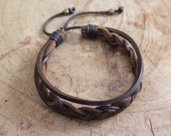 Men - Leather Braided bracelet