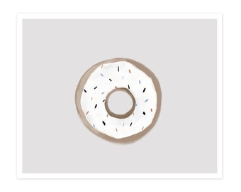 Donut Fine Art Print - White and Grey