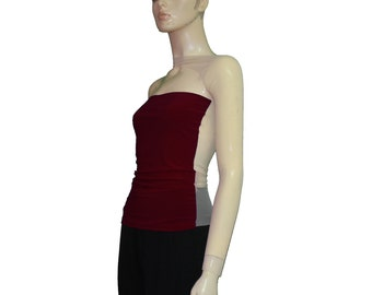 One shoulder top Backless sheer mesh shirt Wine Christmas strapless long sleeve party blouse