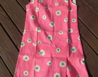 1970 Skort Dress Bright Pink with White and Green Flowers