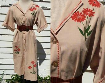 Rare Vintage Leona Caldwell 50s Silkscreen Button up House Dress Peach Flower Silk Screen Print Poppies Art Southwest Designer 60s Floral