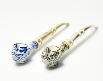 Set of 2 Elephants Tobacco Smoking Pipe, Fashion Pipes, Cute