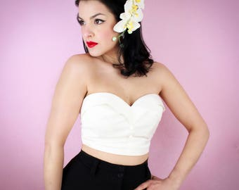 White Classic 1950's Bustier Top