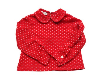Vintage 70s red shirt white dots for girls size 2/3 years