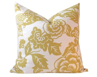 Yellow Pillow Cover Aviary Inspired Yellow Print on White Single Sided 22 x 22 Inch