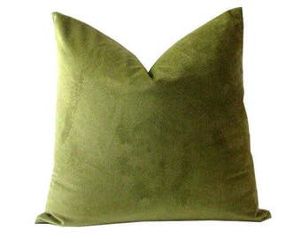Olive Green Pillow Cover in Velvet Greenery