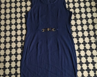 90's navy fitted dress with Tortoise belt