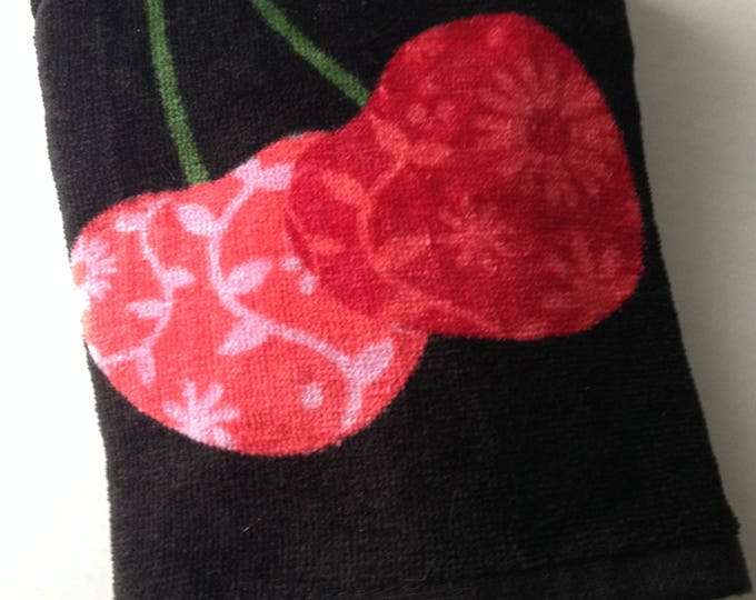 Black Hanging Towel - Large Cherries - Crochet Top - Cherry Towel - Fruit Towel - Hanging Towel - Handmade Crochet - Ready to Ship