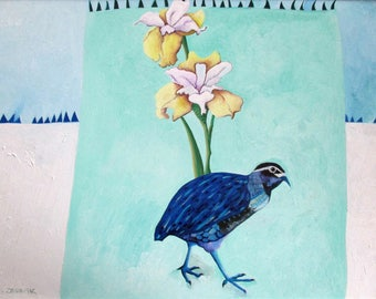 Spring Squeak - Bird & Iris - Original Oil Painting on Paper