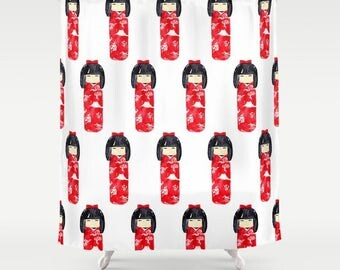 Kokeshi Shower Curtain, Japanese Shower, Asia Shower, Kokeshi Dolls, Red White and black, Girls Shower, Shinnichi, Nesting Doll, hipster