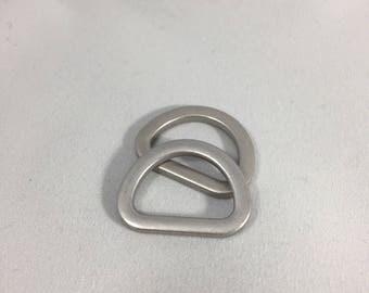 Matte Silver D Ring Pair 19mm 3/4 inch Inside Width