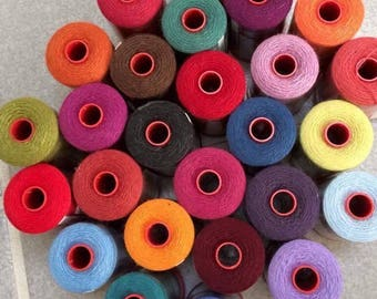 GENZIANA Size 12 Wool Thread 382 yds spool (Choose colors from my listed spools) See color chart