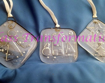 Snowy Clear, Winter Scene House, Xmas Tree with Star, or Folky Angel Large Relief Carved Fused Glass Ornaments
