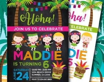 Luau Birthday Invitation, Beach Birthday Invitation, Pool Party Invitation, Digital Invitation, 2 Options