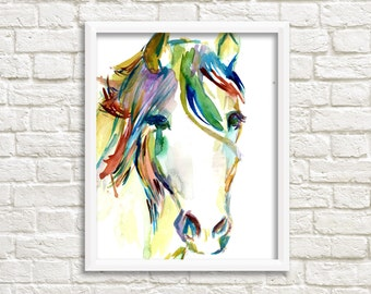 ON SALE Horse Watercolor Painting Print, Print of Horse, Horse Painting, Watercolor Horse, Horse Art, Abstract Horse Painting, Animal Art